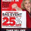 Gordman's! 25% Off In Store Bag Event! 20% Off Online! Saturday ONLY!